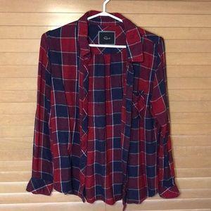 Soft Red Plaid Checkered Shirt
